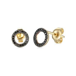 Kolczyki złote oponka z czarnymi diamentami/sztyft AW 62793-04969 Y próba 585