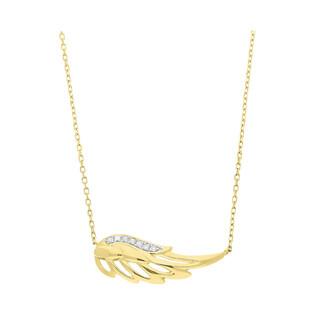 Naszyjnik złoty skrzydło z diamentami/rolo AW 79530-08859 YW skrzydło próba 585