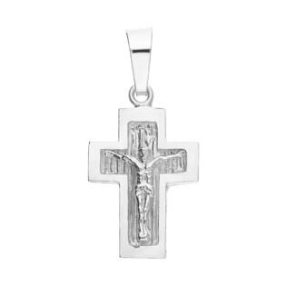 Krzyżyk srebrny wizerunek tłoczony ramiona kwadratowe DJ K-017 próba 925