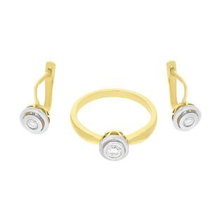 Zestaw złoty z kolczykami i pierścionkiem z diamentami BE W-294 próba 585