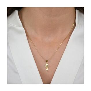 Złoty krzyżyk z dopasowanym łańcuszkiem M2 J10K50-DP0159-YW+VEDCO 050 próba 585