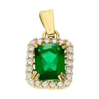 Zawieszka złota markiza z zieloną i białymi cyrkoniami OS 96-3065 VER próba 585