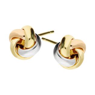 Kolczyki złote obwarzanki 3 kolory złota/sztyft A4 288-OR529-3C-FR próba 585