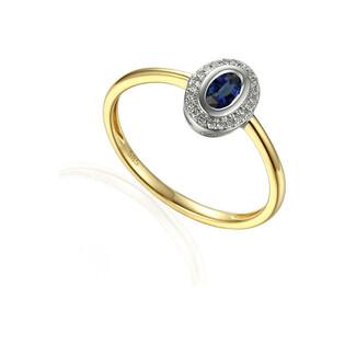 Pierścionek zaręczynowy z szafirem i diamentami nr AW 46623 YW-SA owal Markiza próba 585