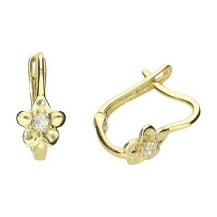 Kolczyki złote kwiatek z cyrkonią MZ T5-E-CK16-CZ próba 585
