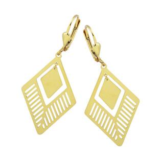 Kolczyki złote romb ażur na kółku/sztyft PY P37E0006 próba 375