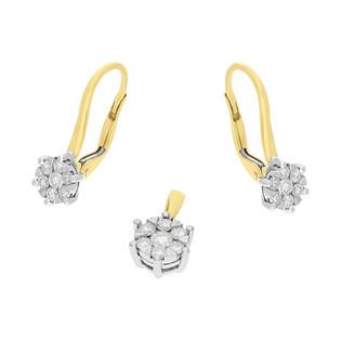 Zestaw złoty z kolczykami i zawieszką z diamentami AW 74222 YW-0,39 próba 585