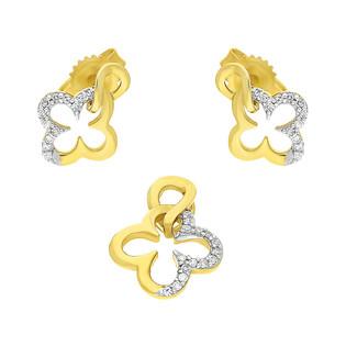 Zestaw złoty z kolczykami i zawieszką koniczynka z diamentami KU 102416-103199 Au 585