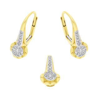 Zestaw złoty z kolczykami i zawieszką z diamentami AW 38965 YW próba 585