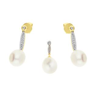 Zestaw złoty z perłą i diamentami AW 57583 Y Line próba 585