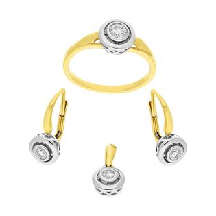 Zestaw złoty z białymi diamentami AW 48325 YW JUBILE próba 585
