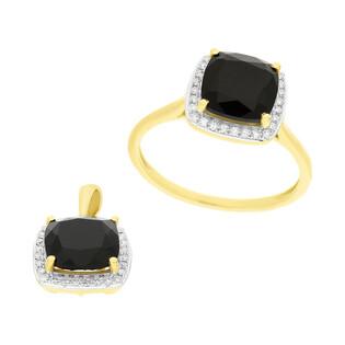 Zestaw złoty z pierścionkiem i zawieszką z czarnym agatem i diamentami AW 62906 Y-AGA kwadrat próba 585