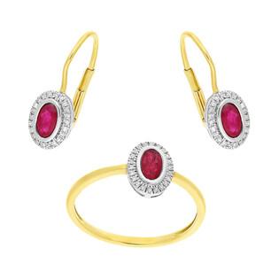 Zestaw złoty z pierścionkiem i kolczykami z rubinem i diamentami AW 46623 YW-RU owal Markiza próba 585 MARKIZA