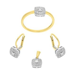 Zestaw złoty kwadraty z diamentami AW 45732 YW próba 585 SWEET
