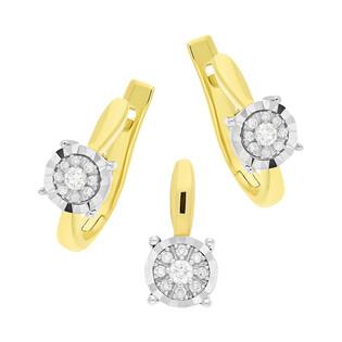Zestaw złoty z kolczykami i zawieszką z diamentami KU 1338-516 próba 585