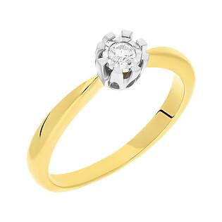 Pierścionek zaręczynowy SOLITER z diamentem KU 68402 próba 585