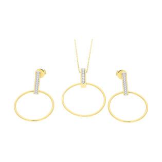Zestaw złoty z kolczykami i naszyjnikiem z diamentami AW 74869-07908 YW próba 585