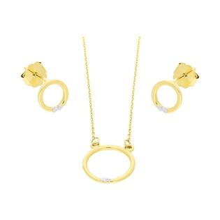 Zestaw złoty z naszyjnikiem i kolczykami z diamentami BE CK-28 próba 585