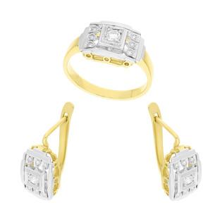 Zestaw złoty z kolczykami i pierścionkiem z diamentami DI 650 próba 585