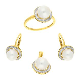 Zestaw złoty z perłą i diamentami AW 36223 Y okr.Markiza próba 585