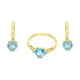 Zestaw złoty z kolczykami i pierścionkiem z topazem i diamentami BE KO-2 do W-012 próba 585