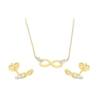 Zestaw złoty z naszyjnikiem i kolczykami z diamentami AW 65977 Y-05640 Y próba 585