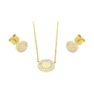 Zestaw złoty z naszyjnikiem i kolczykami z diamentami AW 69684 Y-06618 Y próba 585