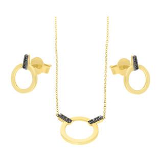 Zestaw złoty z naszyjnikiem i kolczykami z czarnymi diamentami AW 65979 Y-05642 Y-BL próba 585