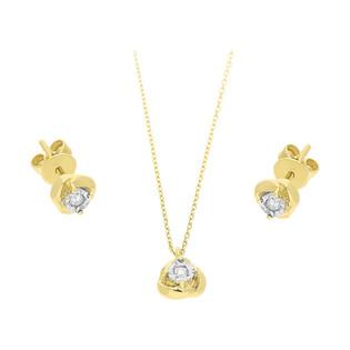 Zestaw złoty z naszyjnikiem i kolczykami z diamentami AW 79606-08921 YW próba 585