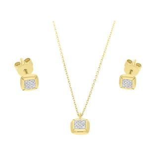Zestaw złoty z kolczykami i naszyjnikiem z diamentami AW 79607-08922 Y próba 585