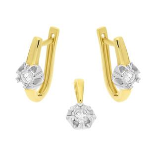 Zestaw złoty z kolczykami i zawieszką z diamentami KU 1596-1420 próba 585