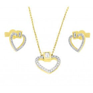 Zestaw złoty z kolczykami i naszyjnikiem z diamentami AW 67581 Y-05780 Y