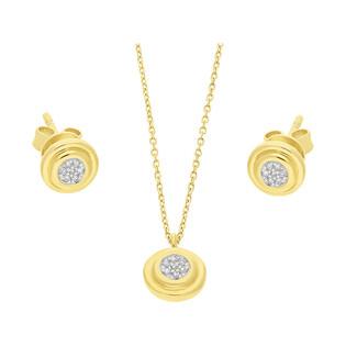 Zestaw złoty z naszyjnikiem i kolczykami z diamentami AW 79603-08920 YW próba 585