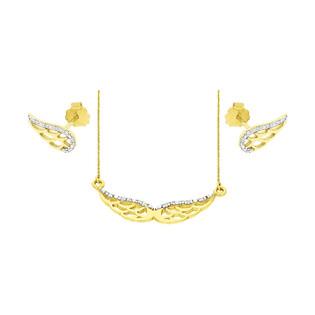 Zestaw złoty z naszyjnikiem i kolczykami z diamentami BE CK-01 skrzydła próba 585