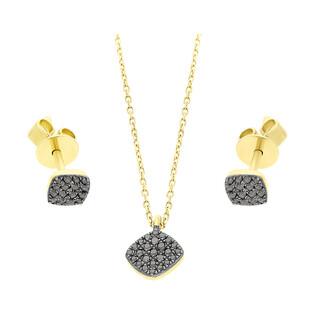 Zestaw złoty z naszyjnikiem i kolczykami z czarnymi diamentami AW 76548 Y-08276 Y-BL próba 585