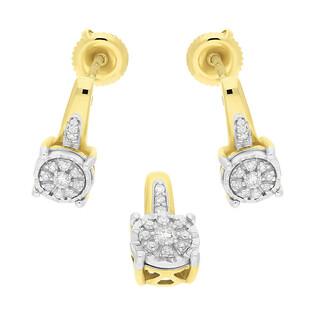 Zestaw złoty z kolczykami i zawieszką z diamentami KU 781-644 Y próba 585