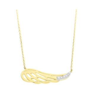 Naszyjnik złoty skrzydło z diamentami/rolo AW 79528-08856 YW skrzydło próba 585