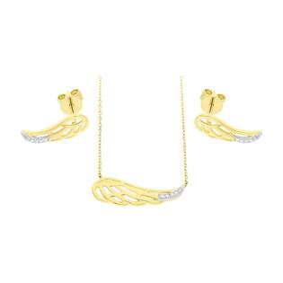 Zestaw złoty z naszyjnikiem i kolczykami z diamentami AW 79528-08856 YW skrzydło próba 585
