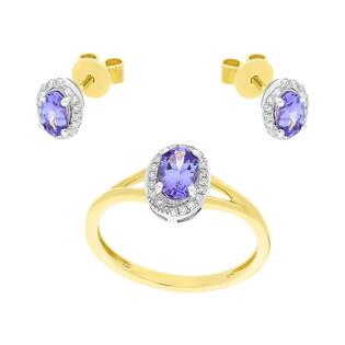 Zestaw złoty z pierścionkiem i kolczykami z tanzanitem AW 36960 YW-TA owal Markiza próba 585 MARKIZA