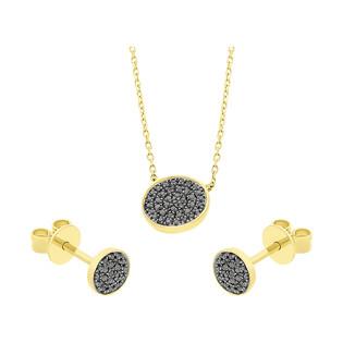 Zestaw złoty z naszyjnikiem i kolczykami z czarnymi diamentami AW 66697 Y-05793 Y-1 próba 585