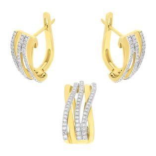 Zestaw złotych kolczyków i zawieszki z diamentami AW 28131 Y próba 585