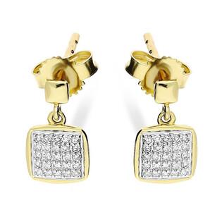 Kolczyki z diamentami SWEET-0,09ct kwadrat/sztyft KU 102028-103113 próba 585