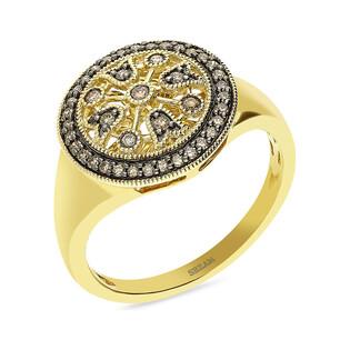 Pierścionek złoty kółko z szampańskimi diamentami LC JR13602-JE5264 CH próba 585