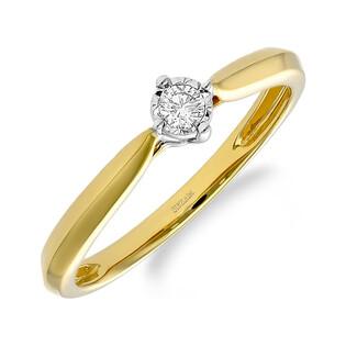 Pierścionek zaręczynowy SOLITER z diamentem LC RR567 Y romb próba 585