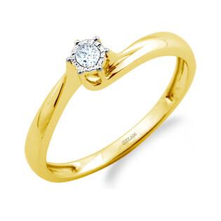 Pierścionek zaręczynowy SOLITER z diamentem LC RR568 Y próba 585