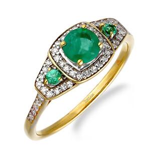 Pierścionek zaręczynowy ze szmaragdem i diamentami LC RR46049 Y- EM próba 585