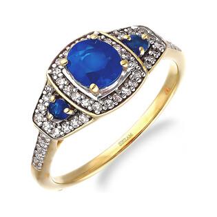 Pierścionek zaręczynowy z szafirem i diamentami LC RR46049 Y-SAP próba 585