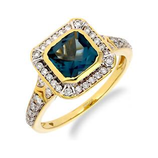 Pierścionek zaręczynowy z topazem London i diamentami LC RR46095 Y-LBT próba 585