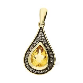 Zawieszka złota kropla z kwarcem dymnym i diamentami KU 100897-10595 SMCH kropla próba 585