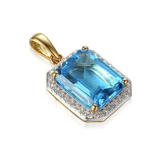 Zawieszka złota z topazem i diamentami AW 62904 Y-TO prostokąt próba 585